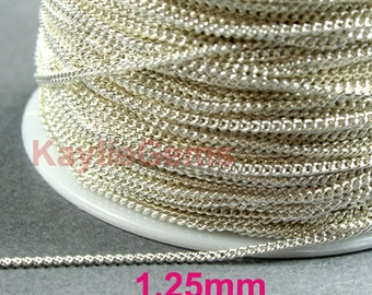 1.25mm Twist Curb Chain Silver Plated Fine Delicacy Soldered Brass Strong   - 6ft