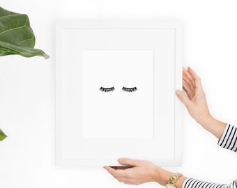 Eyelash Print, Eyelashes, Printable Art, Fashion Print, Minimalist Art, Instant Download, Wall Art, Lashes, Wall Decor