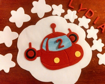Little red rocket ship cake topper and accessory kit