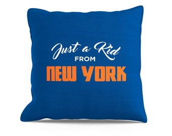 Just a Kid From New York Pillow Couch Throw, Toss Pillows, 18x18 Pillow, NYC Pillow, New York Pillow, New York Mets, New York Yankees