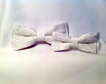 bowtie duet, white and silver