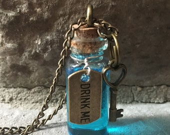Alice in Wonderland Drink Me Necklace (Customizable)