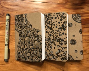 Journal: Set of Three Hand-Illustrated Pocket Notebooks - Circles
