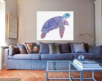 Purple Watercolour/Gouache Turtle