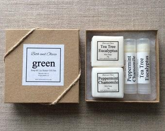 Green Soap and Lip Butter Gift Set, lip balm gift set, soap gift set, peppermint gift set, guest soaps, Green tea lip balm, Mojito lip balm