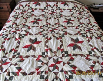 Green,Brown,Burgundy Quilted Patchwork Stars Bedspread,Coverlet 94x98 King,Queen
