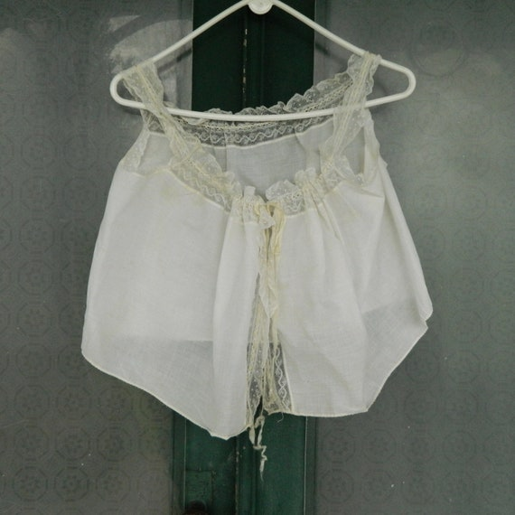 Antique Victorian White Cotton Lace Corset Cover Camisole