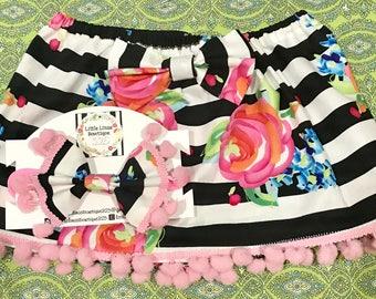 Striped rose bow skirt