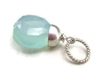 Aqua Gemstone Pendant Sterling Silver Blue Chalcedony Necklace Charm