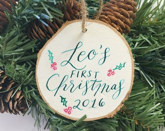 Custom Holiday Ornament, Personalized Christmas Ornament, Handmade Ornament, First Christmas Ornament, Calligraphy Ornament