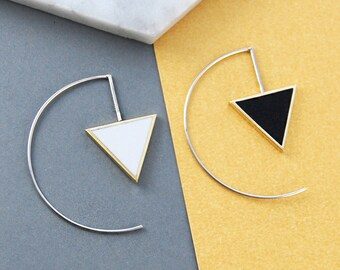 Triangle Earrings, Black And White Jewelry, Geometric Hoops, Silver Hoops, Monochrome, Silver Earrings, Edgy Earrings, Gift For Friends
