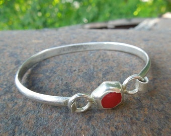 Vintage Sterling Silver Mexico Bracelet with Carnelian Stone Small Size Child's