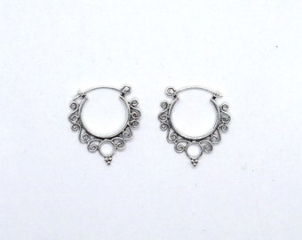 Silver earrings, draught hoop, ethnic earring