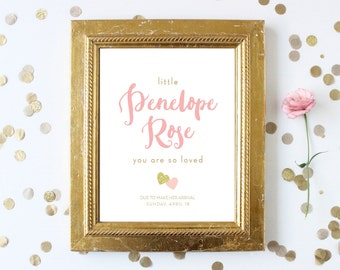 Pink and Gold Baby Shower Welcome Sign . Pink and Gold Glitter Hearts . Mint and Gold . Blue and Gold . Girl Boy Shower . Instant Download