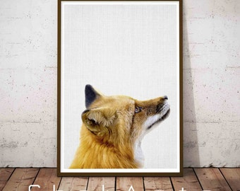 Fox Woodland Art, Fox Printable Art, Farmhouse Wall Print, Cute Office Decor, Large Abstract Print, Rustic Decor Ideas, Aapartment Decor
