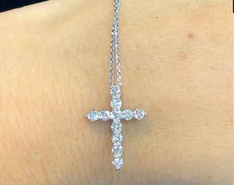 14kt White Gold Women's Diamond Cross Necklace