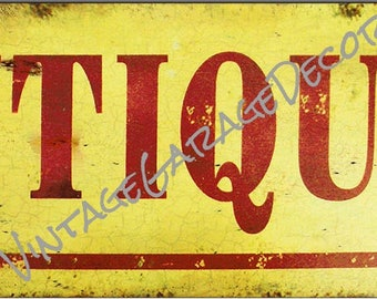 """Antique Style """" Antiques """" Aged Looking Metal Sign"""