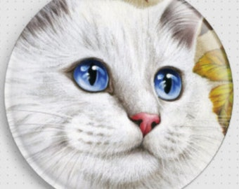 White Cat Needle Minder, 'Autumn Rose', Irina Garmashova-Cawton, Cross Stitch Keeper, Kitten Fridge Magnet, Cross Stitch Accessory,
