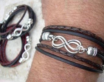 Triple Wrap Double Infinity Leather Bracelet, Infinity Bracelet,  Infinity,  Couple Bracelets, Womens Bracelet, Mens Jewelry, Womens Jewelry