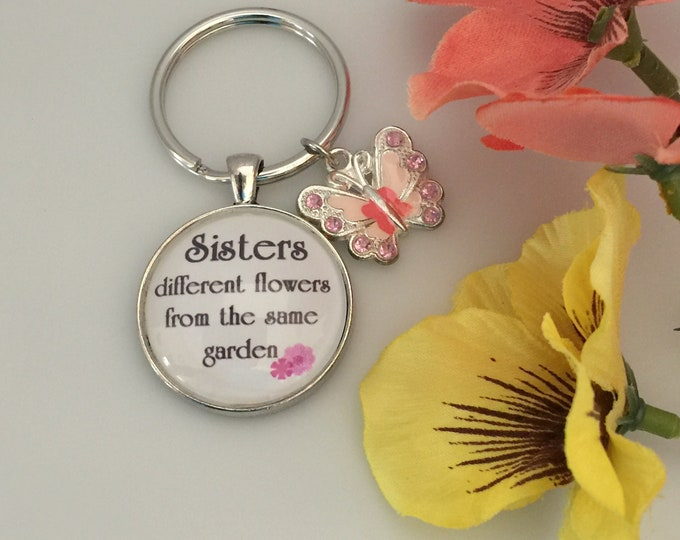 Sister Keychain, Glass with pink and peach butterfly with rhinestones, Different flowers from same garden, Psalm 139:14 You are Beautiful