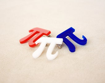 Pi Pin, Brooch, Jewelry in Acrylic 3.14159265 Pi Day