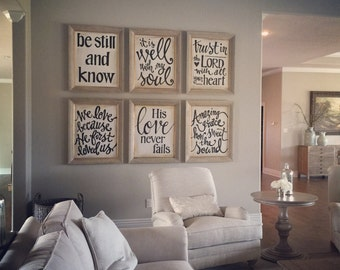 Set of 6 - 22x28 Hand Lettered Canvas