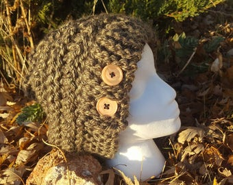 Slouchy Beanie with Flap-over Brim