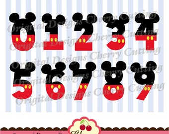 Birthday Numbers 0 through 9 SVG,Mouse ears numbers 0-9, Birthday Mickey numbers Silhouette & Cricut Cut Files-Personal and Commercial Use