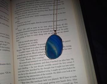 blue agate slice necklace