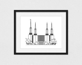 Washington DC Temple Print // 5x7, 8x10, or 11x14 // Portrait or Landscape // Custom // Foil Printing Available