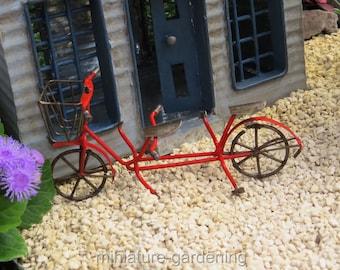 Tandem Bicycle, Red for Miniature Garden, Fairy Garden