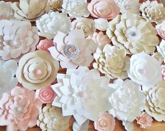 Set of 35 Flowers -  Paper Flowers for Weddings | Paper Flower Wall | Wedding Backdrop | Photo Booth Flower Backdrop | Ceremony Decor