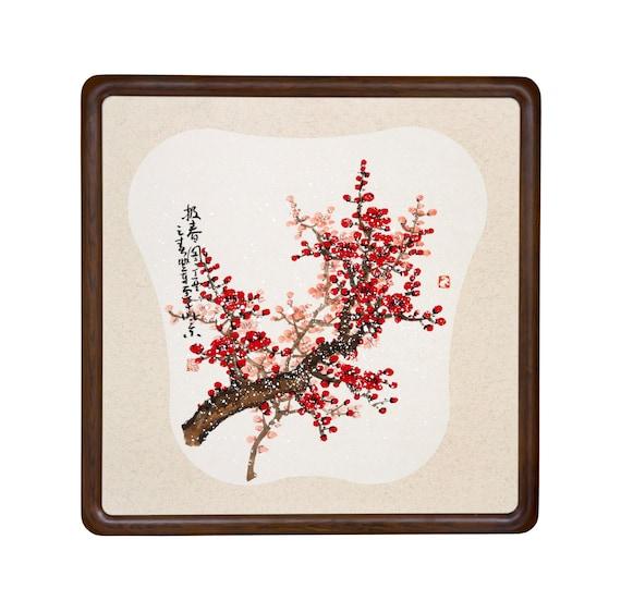 original pintura China cerezo flor árbol enmarcado pared arte