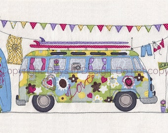 Print of original textile artwork 'Surf's Up'. Machine free motion embroidery. VW Camper van. beach, surfing, summer, holiday, hippy, love.
