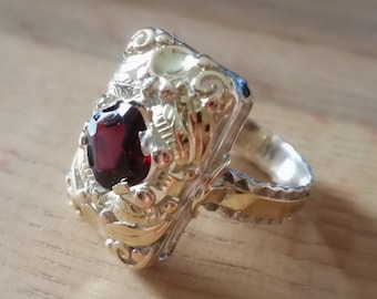 Antique Silver gold ring gold ring red silver white Yellow