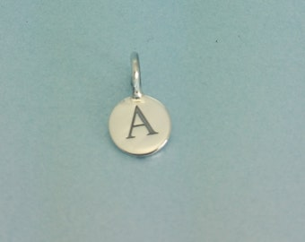 Tiny sterling silver initial charm 5mm sterling silver initial sterling silver initial disc charm sterling silver initial charm silver letter charm 925 sterling alphabet charm aloadofball Images