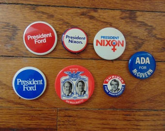 Vintage Early 1970s Campaign Pins Nixon Ford McGovern