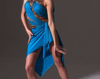 Blue ballroom gown for dances with applique and drapery.
