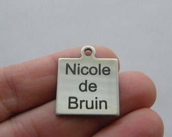 1 Custom made laser engraving - you choose the words tag charm 25 x 20mm stainless steel TAG10