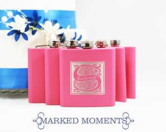 Engraved Pink Flask with Single Letter Monogram Great for Groomsmen 21st Birthday Bridesmaids Father's Day ORNATE Design