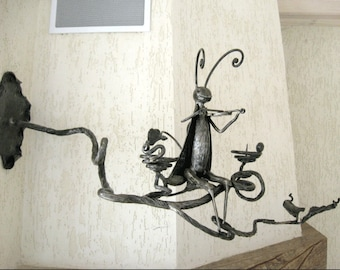 """Hand Forged Blacksmithing Metalwork Forged Candle Holde """"Cricket on a branch"""" Hand forged   Lighting Larp"""