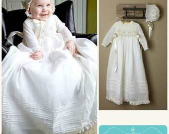 "Christening Gown, Baptism Dress, Bleesing, Cotton,  Ivory /White,  Long sleeves, lined, Bonnet and Bloomers Included, 30"" long  Hand Made"