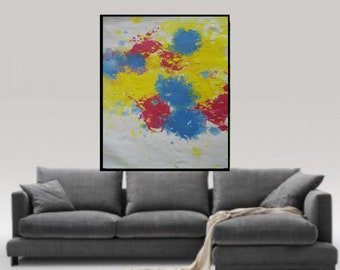Blue yellow red abstract Painting paper print acrylic painting  giclee print modern Acrylic paper Print fine Wall Art on contemporary print