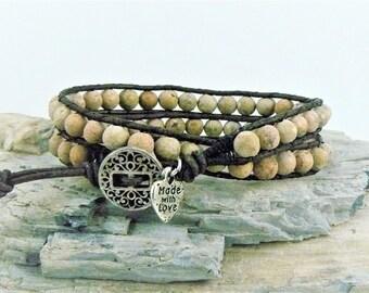 Brown Beaded Wrap Bracelet, Bohemian Bracelet, Leather Wrap, Boho Bracelet, Stone Wrap Jewelry, Beaded Leather, Natural Stone Wrap, Earthy
