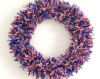 Stars and Stripes Red White and Blue Wreath 4th of July Fourth of July Patriotic Wreath Summer Wreath Memorial Day Flag Day Front Door Decor
