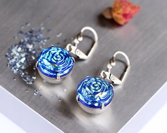 Blue Roses Earrings ~ Vintage Style Glass Earrings ~ Victorian Style Jewelry ~ Gift for Her ~ AB Blue Earrings ~ Romantic rose Jewelry