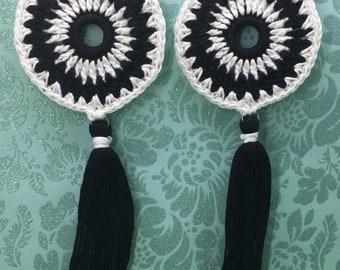 Mandala Crochet Tassel Earrings, Mandala Earrings, Crochet Earrings, Tassel Earrings, Summer Earrings, Black & White Earrings, Oversized,