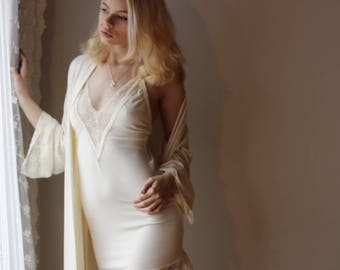 womens ivory nightgown in bamboo with lace trim - NOUVEAU bamboo sleepwear range - made to order