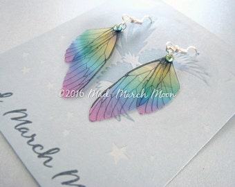 Mini Fairy wing earrings 'Rainbow Glass', transparent rainbow earrings with sterling silver hooks, latch back and clip on version available