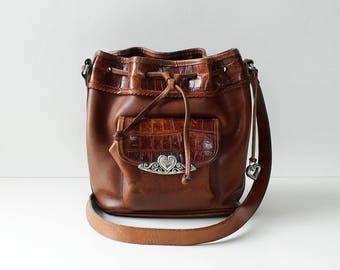 Vintage Brighton Bag • Leather Bucket Bag • 90s Purse • Leather Crossbody Bag • Vintage Bucket Bag • Brighton Purse • Brown Bucket Bag B1097